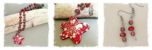 red blossom necklace collage