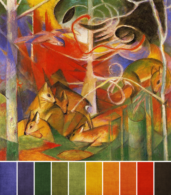 march 2013 - deer-in-the-forest by franz marc palette