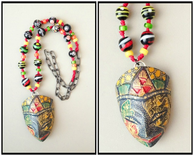 Mask necklace collage