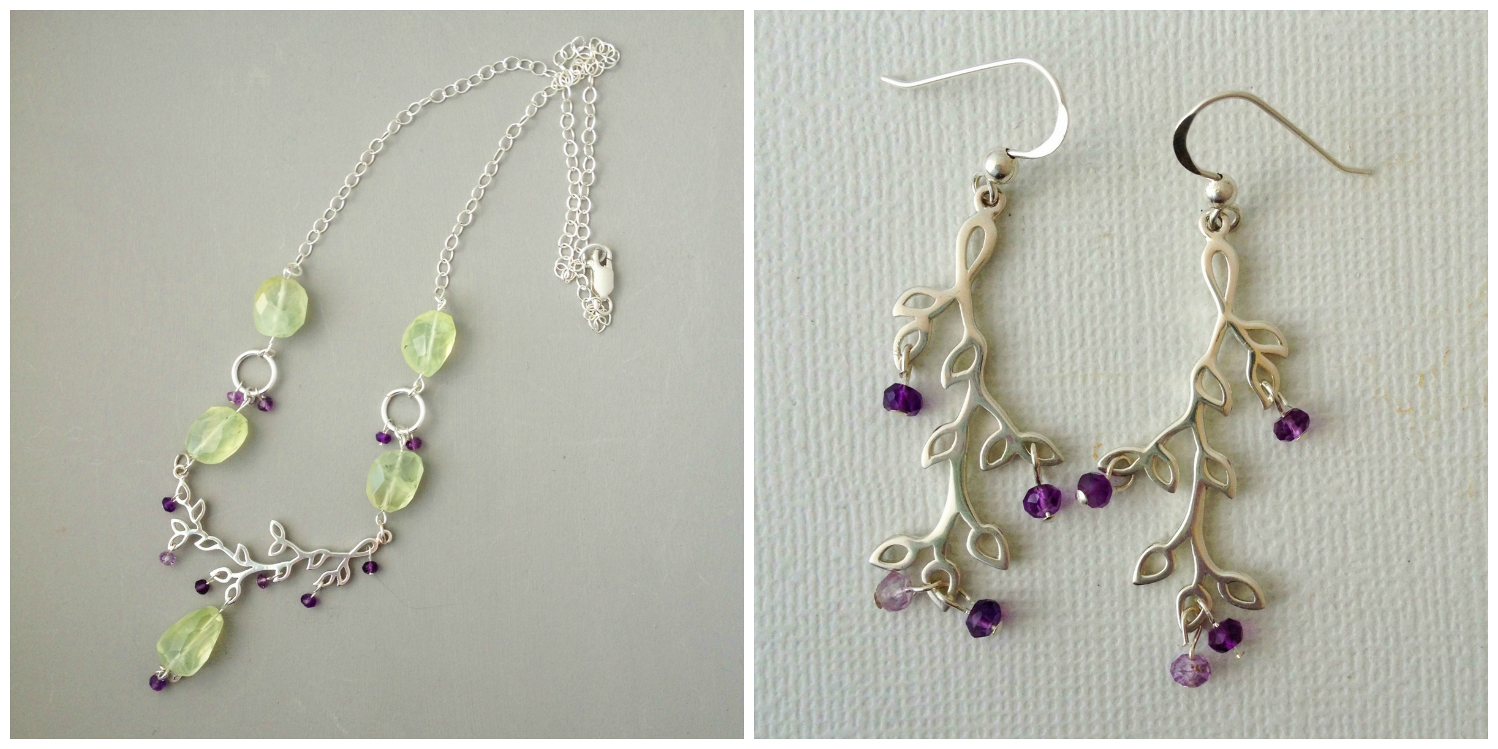 Pears and plums necklace set