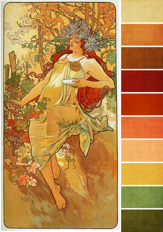 "Autumn from  ""The Seasons (series)"", 1896 Alphonse Mucha  Oil on Panel Colour palette by Brandi Hussey"