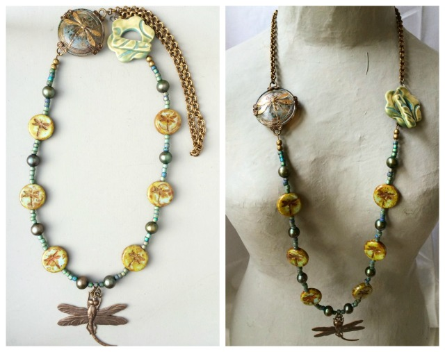 Dragonfly pond necklace collage