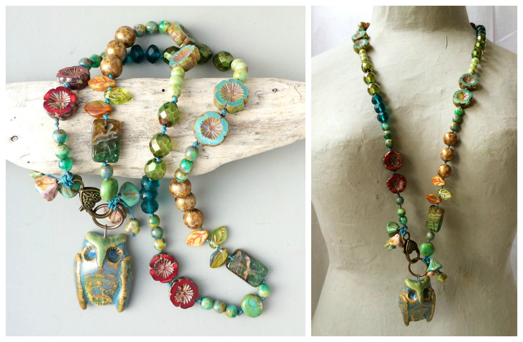 Owl in the woods necklace collage