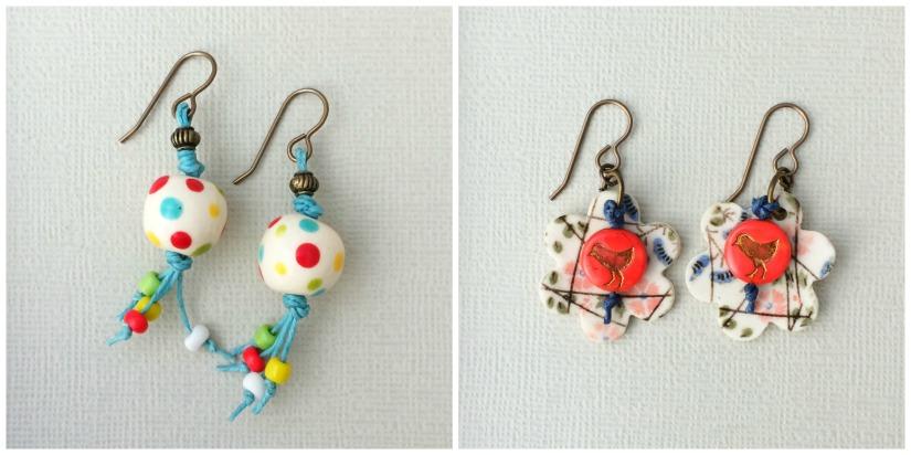 Waxed linen earrings Collage