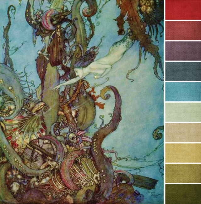 The Little Mermaid, 1911 by Edmund Dulac  Pencil, pen, black ink and watercolour with scratching out on paper 12¼ x 9 7/8 in. (30.8 x 25.2 cm.) Colour palette by Brandi Hussey