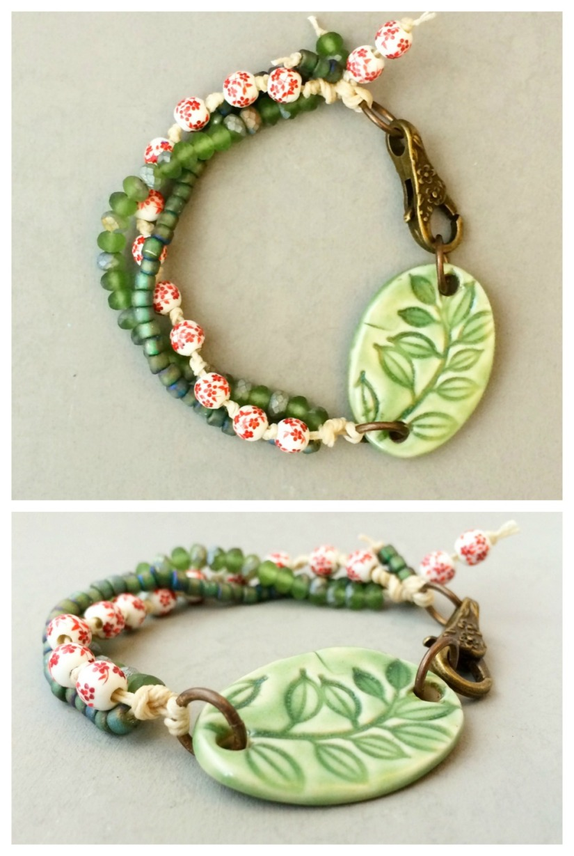 Leaves and flowers bracelet Collage