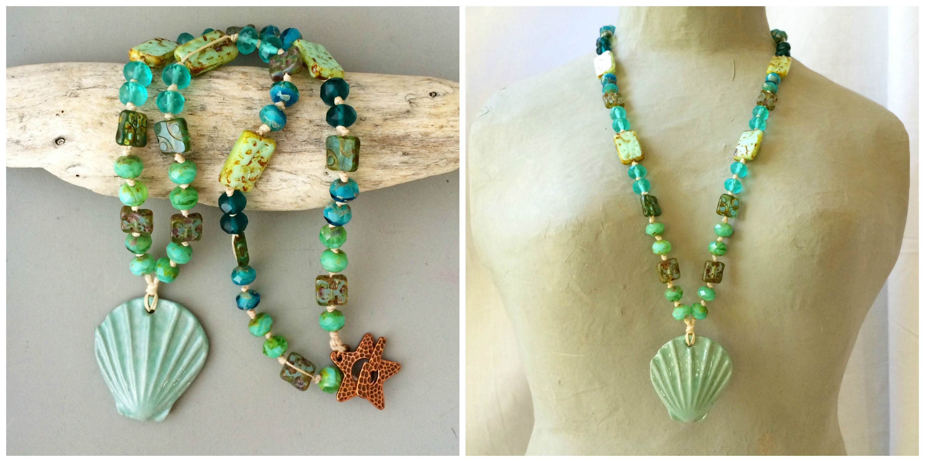 Seashell necklace collage